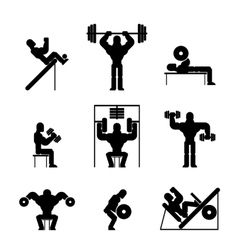 Bodybuilding and weightlifting icons vector