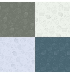 Set of seamless patterns with cute hand vector