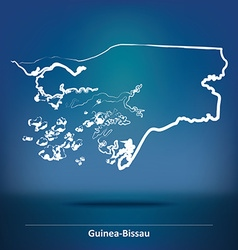 Doodle map of guinea-bissau vector