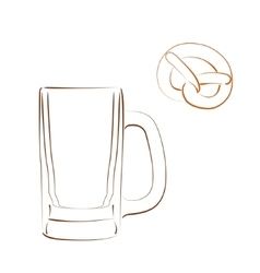 Sketched beer mug and bretzel vector