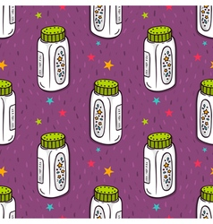 Seamless pattern with baby powder bottle vector