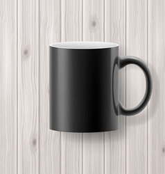 Cup on wooden backdrop vector