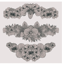Set of vintage flowers compositions vector
