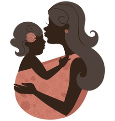 Beautiful mother silhouette with baby in a sling vector