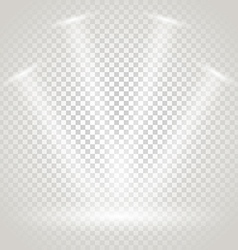 Bright stage with spotlights transparent vector