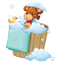 A bear taking a bath vector image