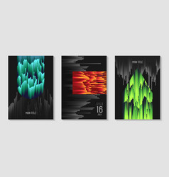 Abstract design set in glitch style trendy vector