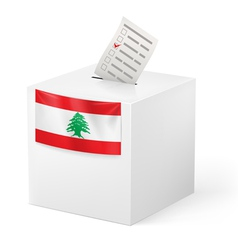 Ballot box with voting paper lebanon vector