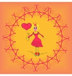 Beautiful girl with a heart cute girl romantic vector
