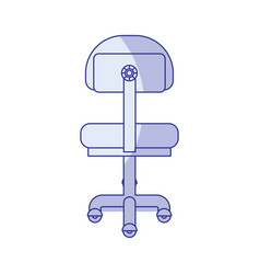 Blue shading silhouette of office chair back view vector