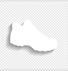 Boot sign white icon with soft shadow on vector