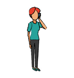 Cartoon woman talking smartphone standing people vector