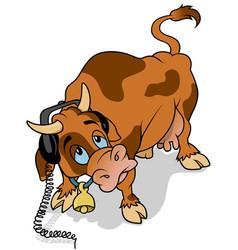 Cow with headphones vector