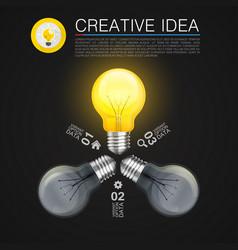 Creative idea idea lamp light black background vector