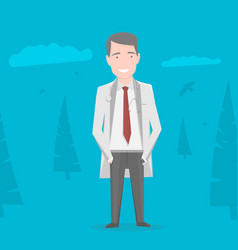Doctor in white coat over blue background vector