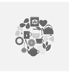 Flat design tea icons set in a circle vector image vector image