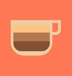 Flat icon on background coffee cup latte macchiato vector