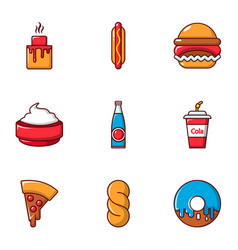 Food and drinks icons set flat style vector