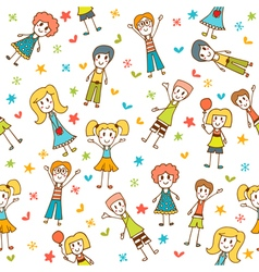 Hand drawn seamless pattern with happy children vector