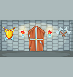 Medieval horizontal banner casemate cartoon style vector