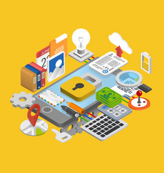 Mobile development icons set vector