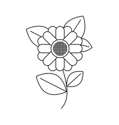 Monochrome silhouette of abstract sunflower with vector
