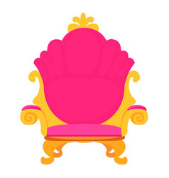 Pink royal princess throne icon cartoon style vector