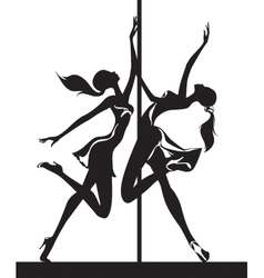 Pole dancers performance vector image