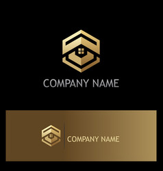 polygon house roof realty gold logo vector image vector image