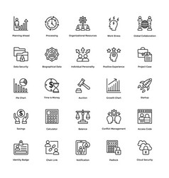 Project management line icons set 8 vector