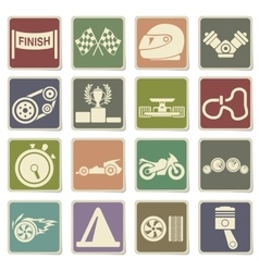 Racing icons set vector image vector image