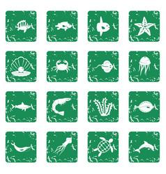 sea animals icons set grunge vector image vector image