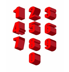 Set 3D red numbers set Zero to ten vector image