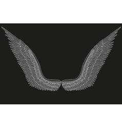 Sketch open angel wings vector image
