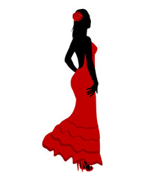 Spanish girl in flamenco dress vector