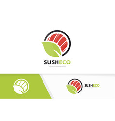 sushi and leaf logo combination japanese vector image