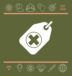 tag with a medical cross vector image vector image