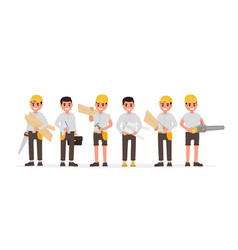 Team of many various carpenters foreman engineer vector