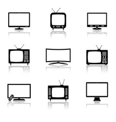 Tv icons set vector