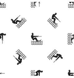 Water skiing man pattern seamless black vector