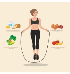 Cute sporty girl jumping with skipping rope vector