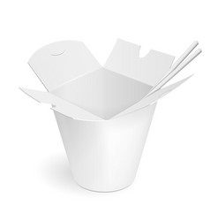 Asian chinese thai korean cardboard food tub vector