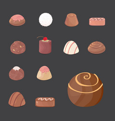 set of chocolate candies cartoon vector image