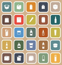 Packaging flat icons on brown background vector