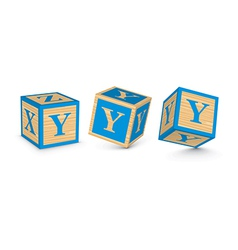 Letter y wooden alphabet blocks vector