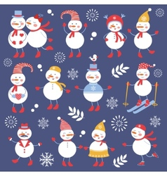 A cute snowmen seamless collection vector