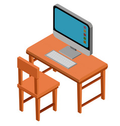 3d design for desk with computer on top vector