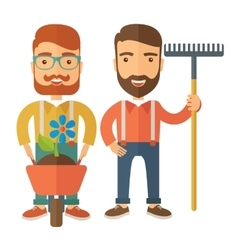 Two men with wheelbarrow and rake vector image
