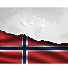 Paper with hole and shadows norway flag vector