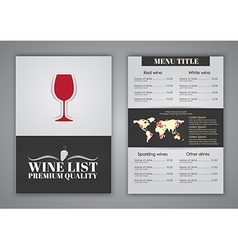 Menu design for wine cafes restaurants vector